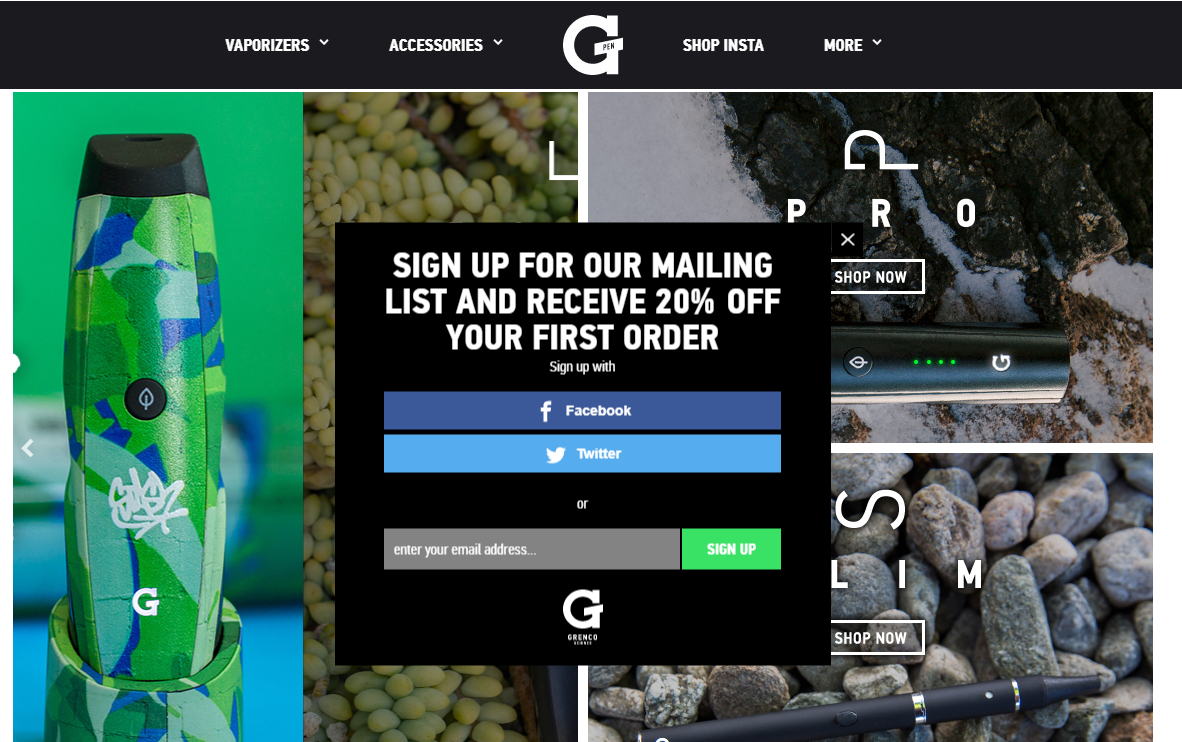 Grenco Science's sign up popup form