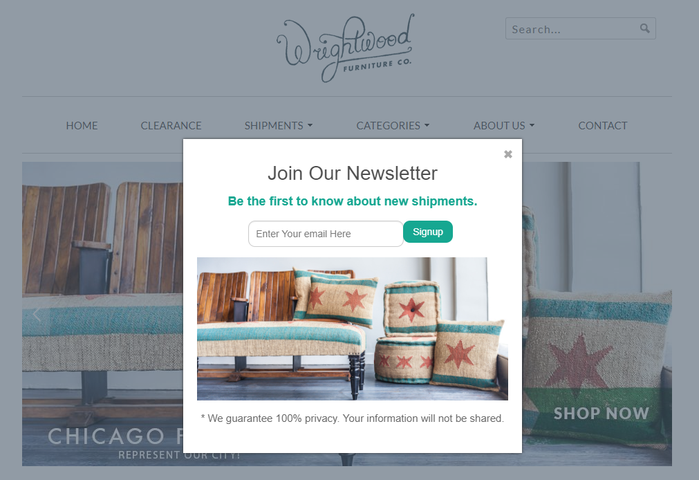 Wrightwood Furniture's newsletter popup