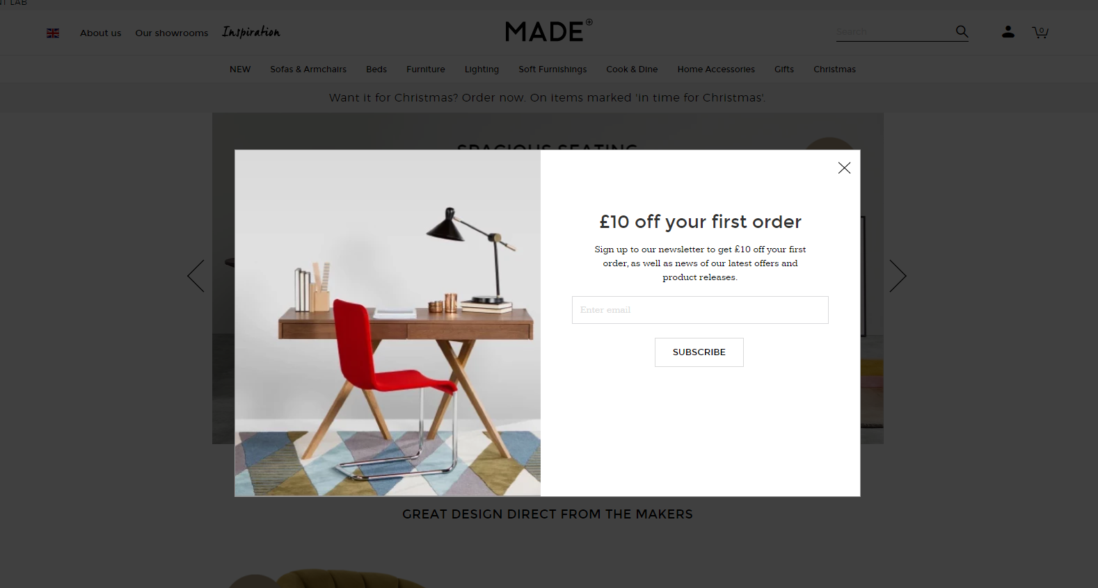 a lightbox popup on ecommerce website made.com