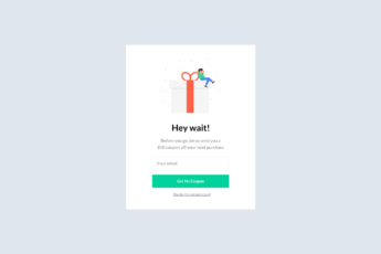 An exit email popup template