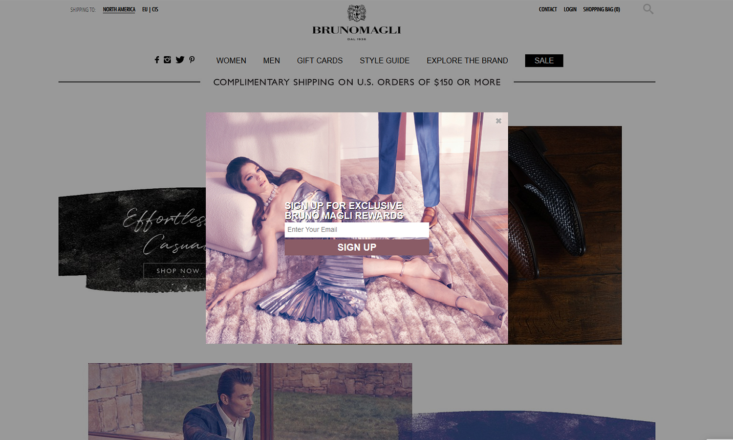 an opt-in pop-up on Bruno Magli's online store
