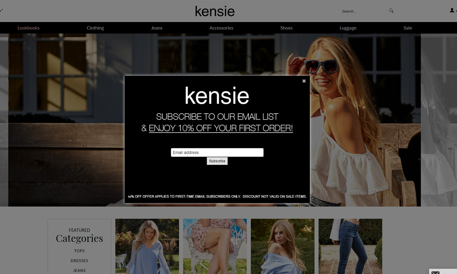 an email pop-up on Kensie