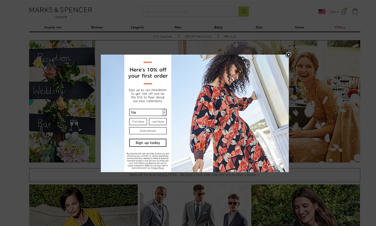 Marks and Spencer's opt-in pop-up