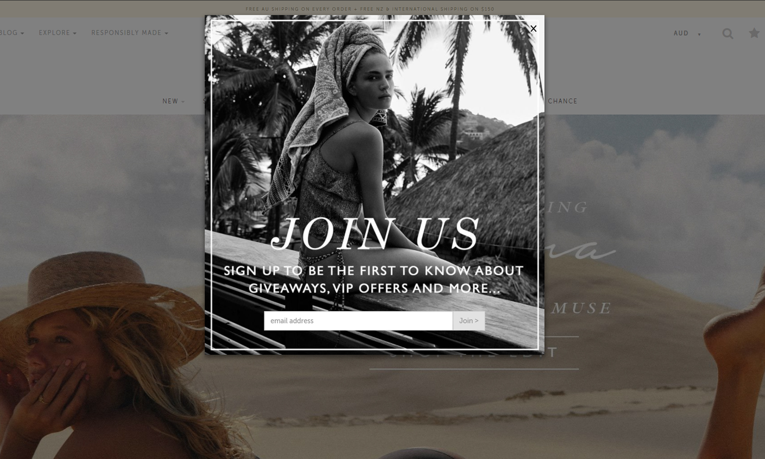 Tigerlily Swimwear's email pop-up
