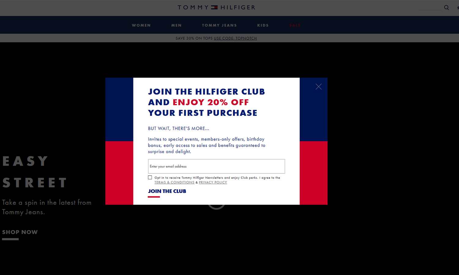 Tommy Hilfiger's email pop-up