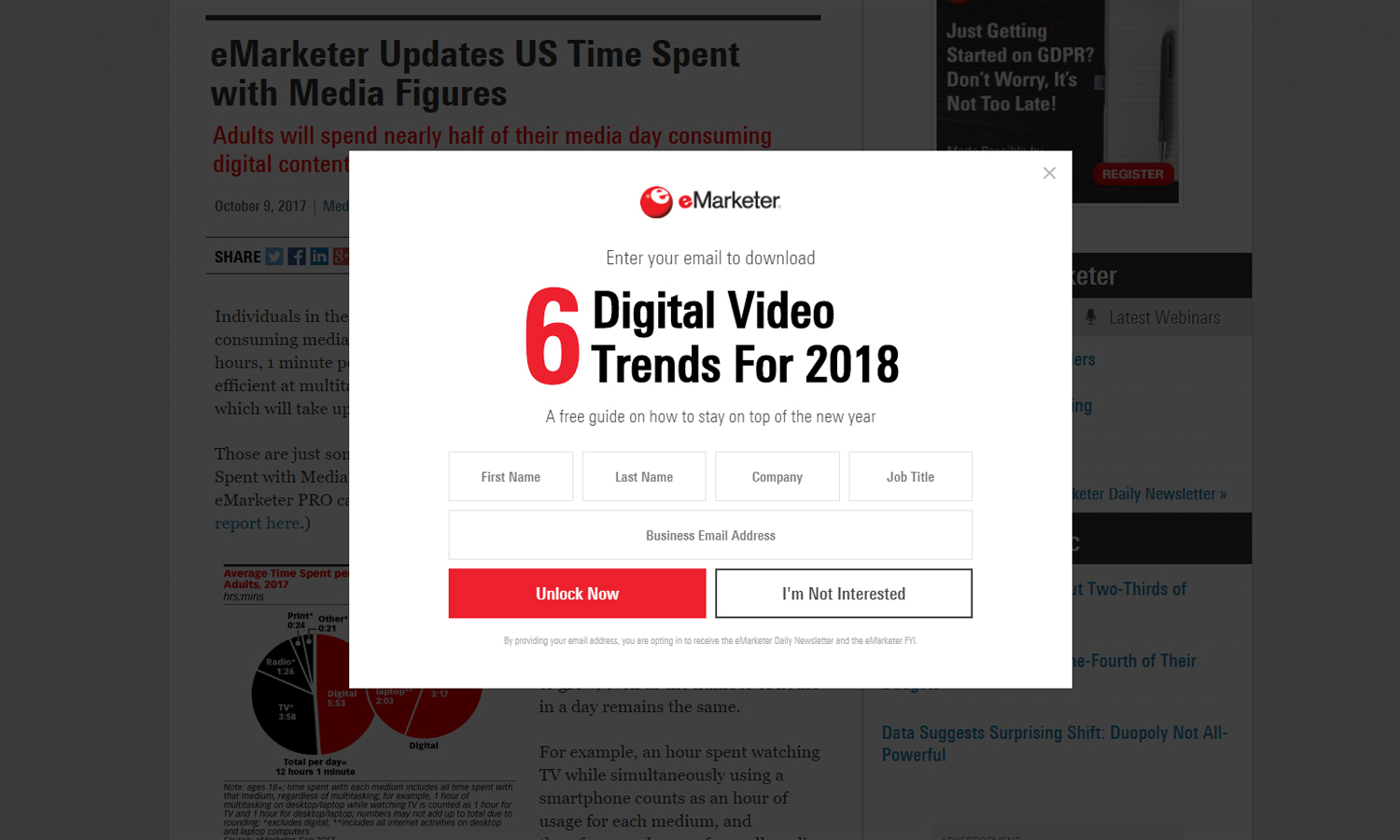 a newsletter popup on eMarketer.com