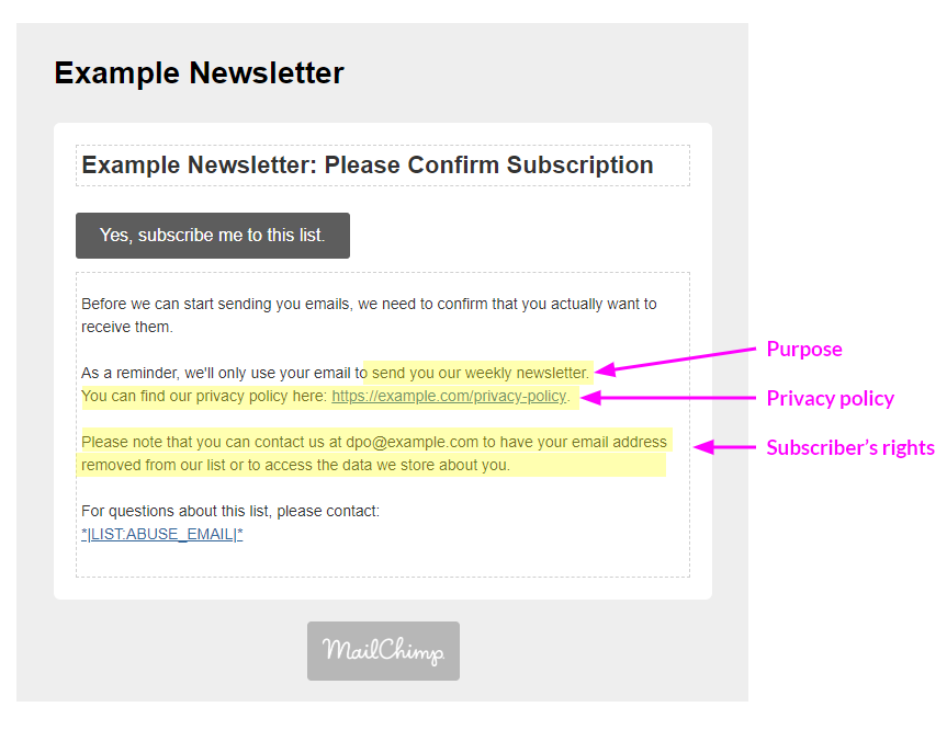 An opt-in confirmation email