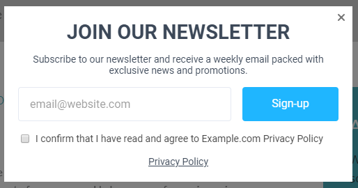 a GDPR-compliant popup example including a checkbox