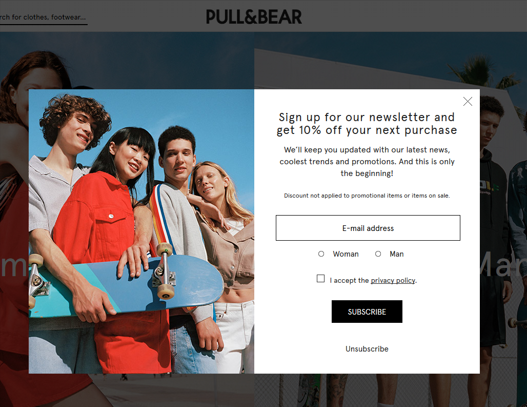 pull and bear's email popup
