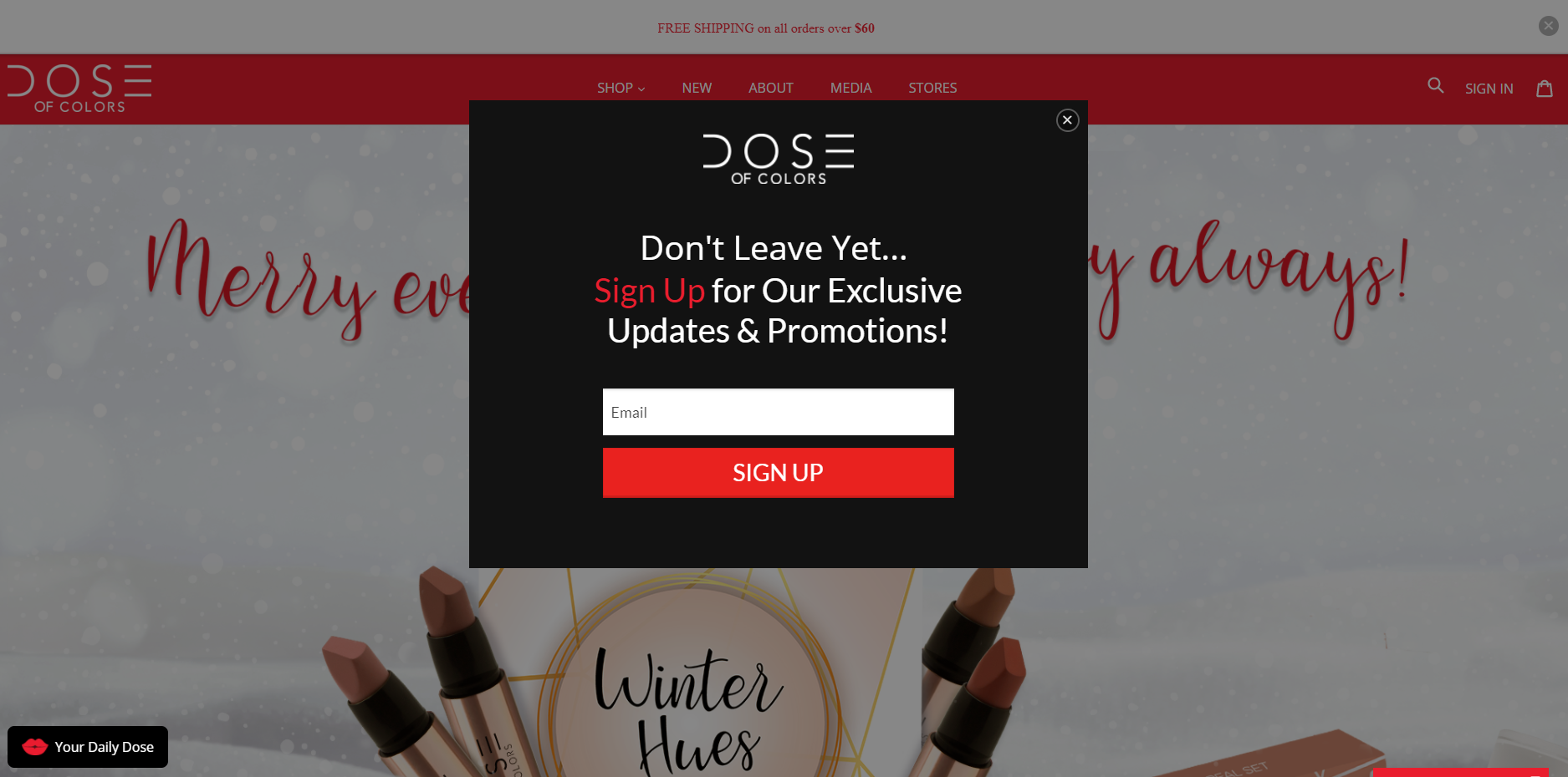 An exit popup on DoC's Shopify store