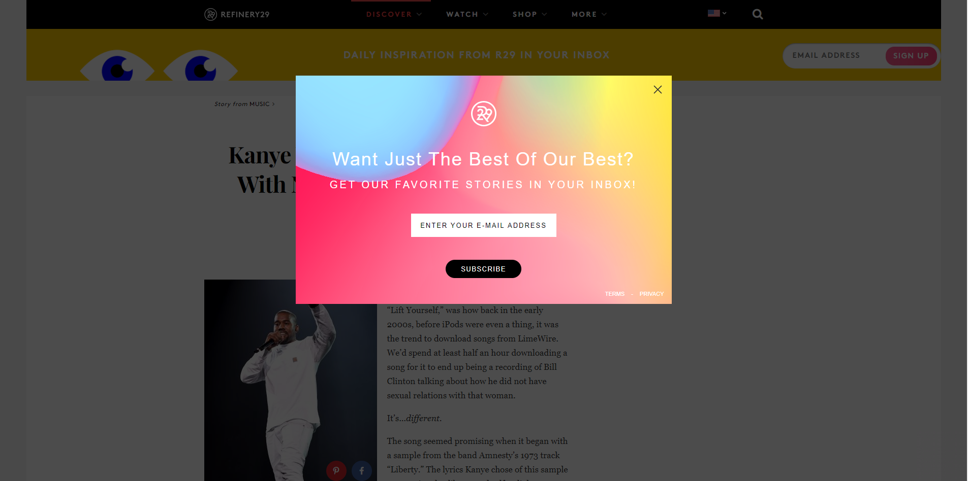 A popup on refinery29 asking visitors if they want to receive the best from their best