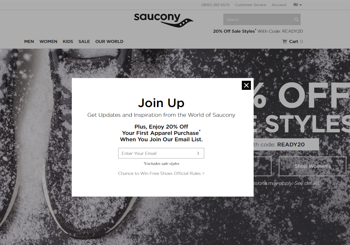 A popup on Saucony.com featuring a huge discount