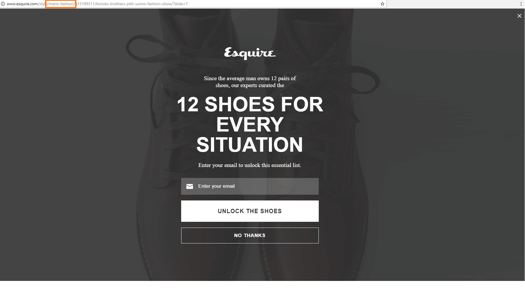 An exit popup on Esquire.com