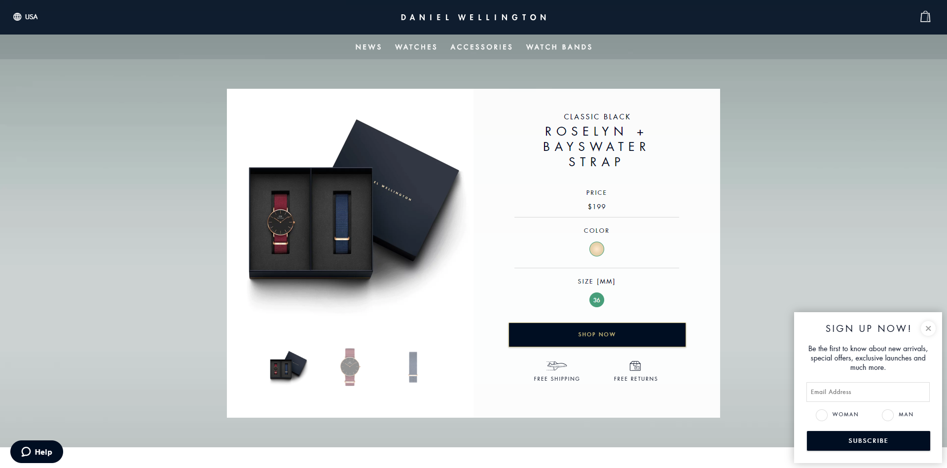 A side newsletter popup on DanielWellington.com
