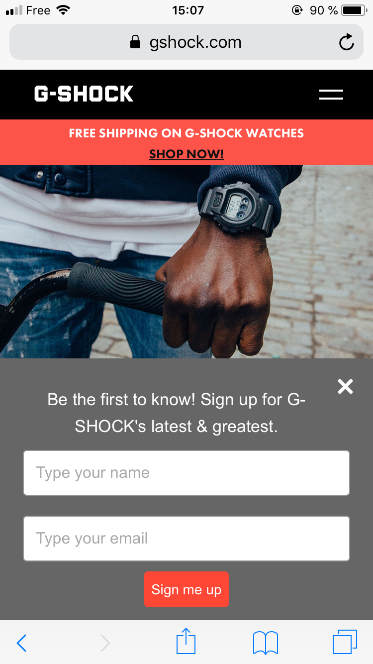 A mobile popup on Gshock.com