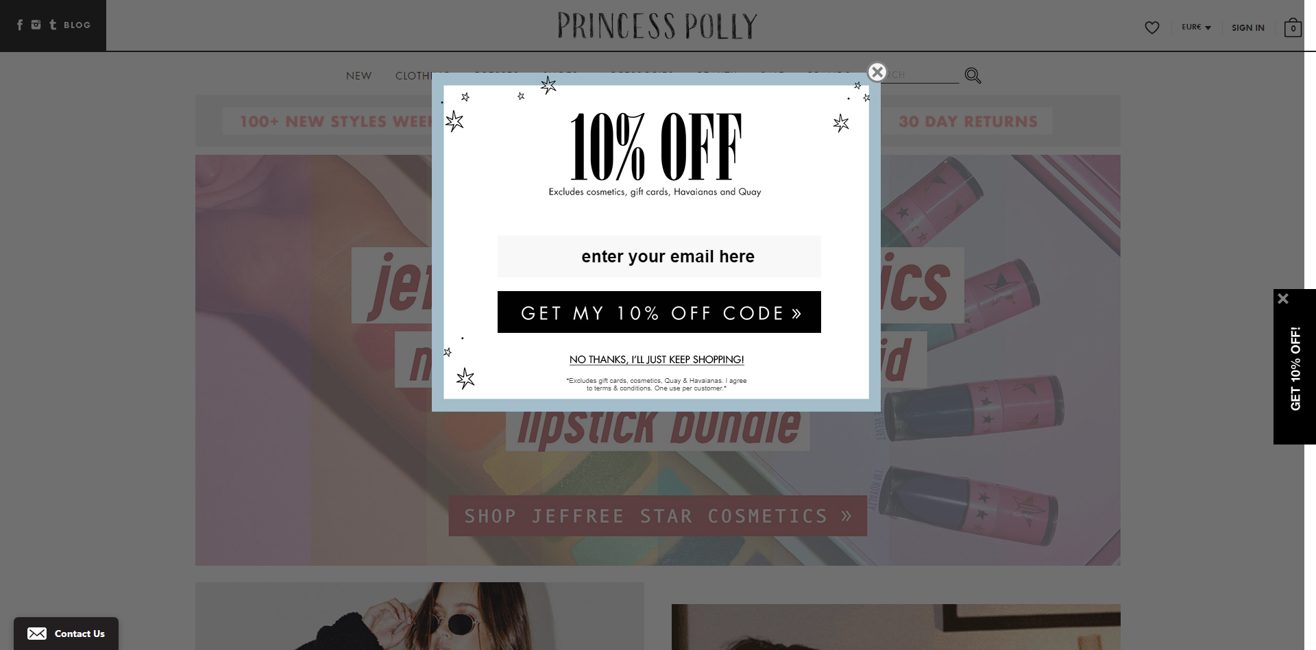 An email popup on Magento-powered website princesspolly.com