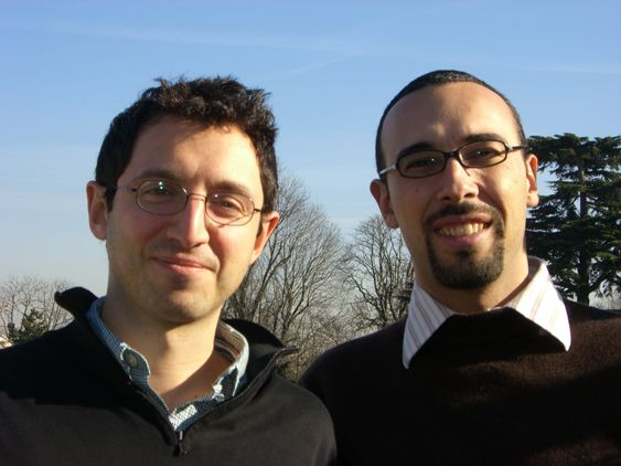A picture of my cofounder and me taken at the time