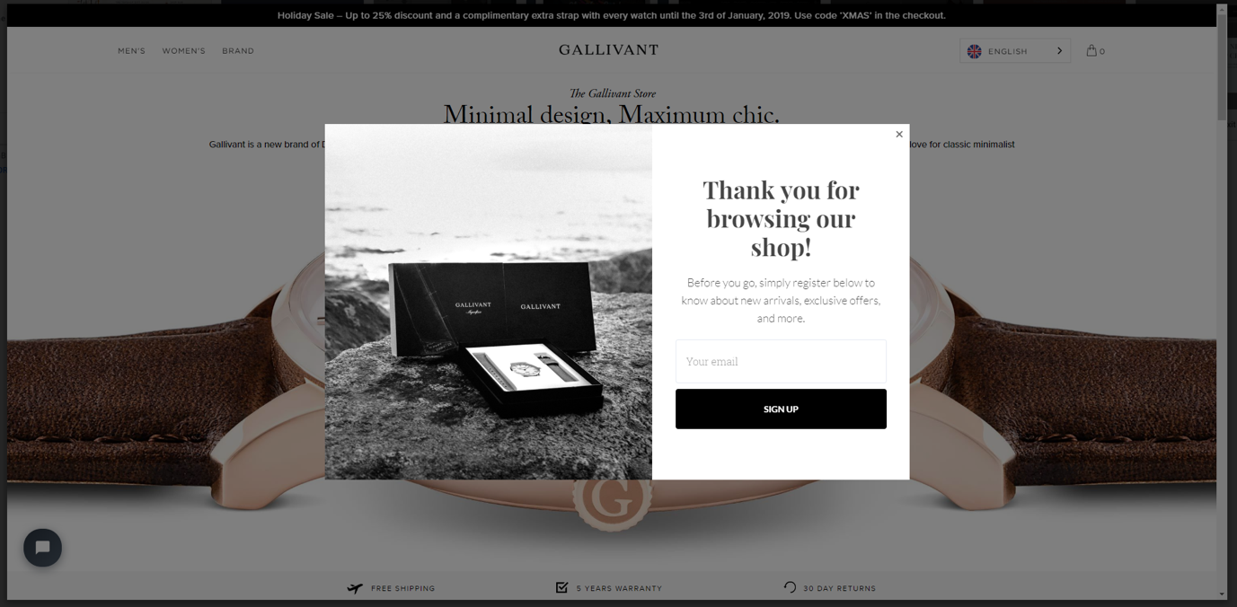 an exit popup on Gallivant watches' website