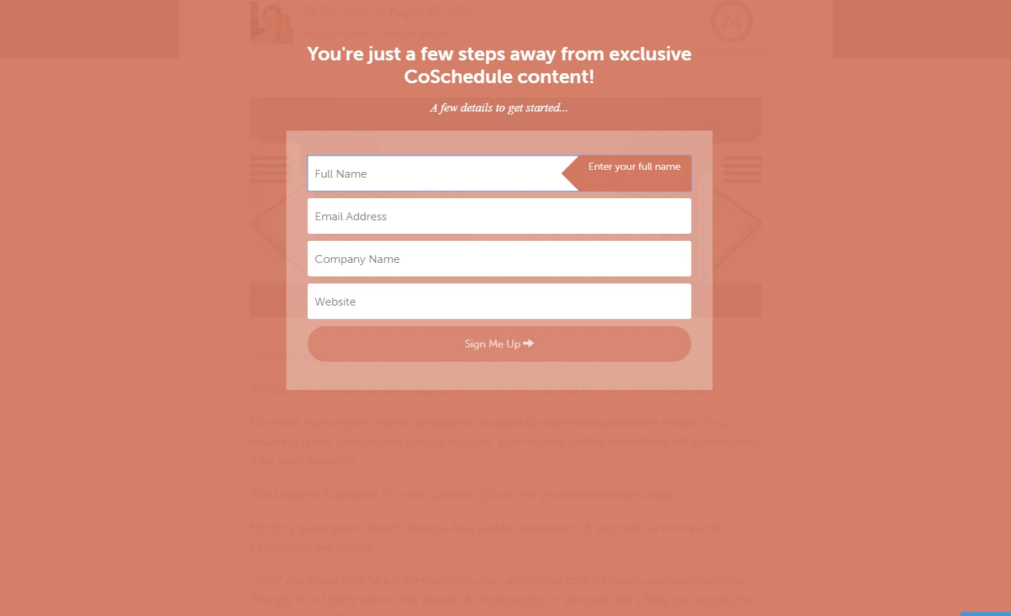 an exit pop up on Coschedule