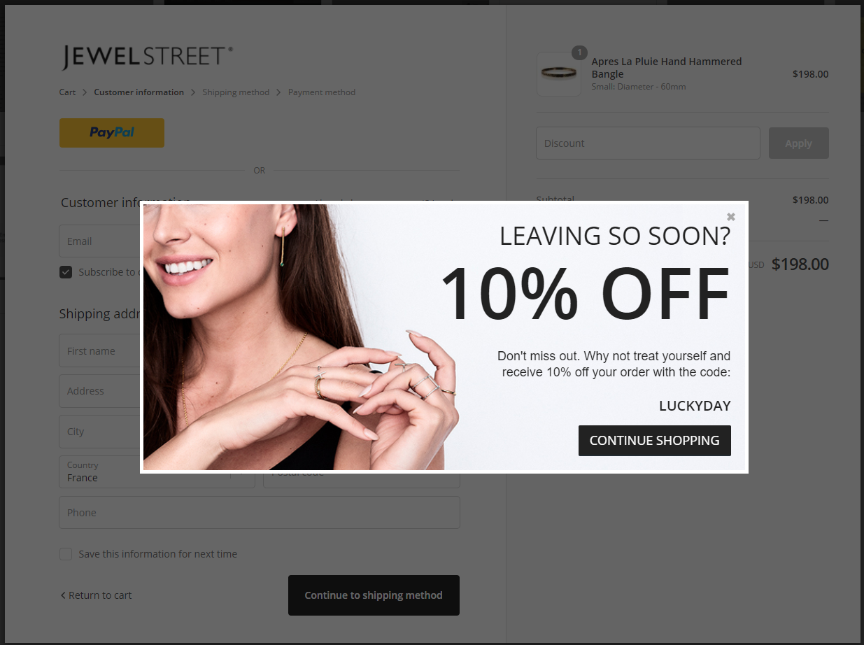 A Cart Abandonment pop-up on JewelStreet