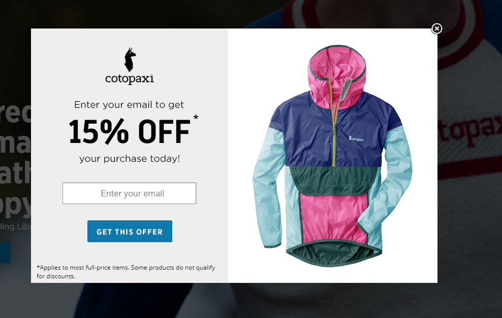 Cotopaxi's popup featuring an explicit copy