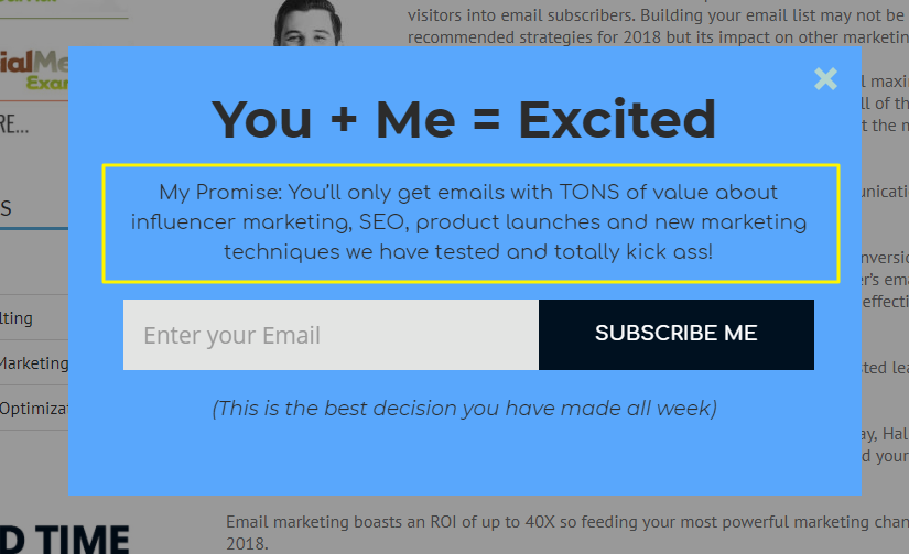 Shane Barker's popup featuring a complete value proposition