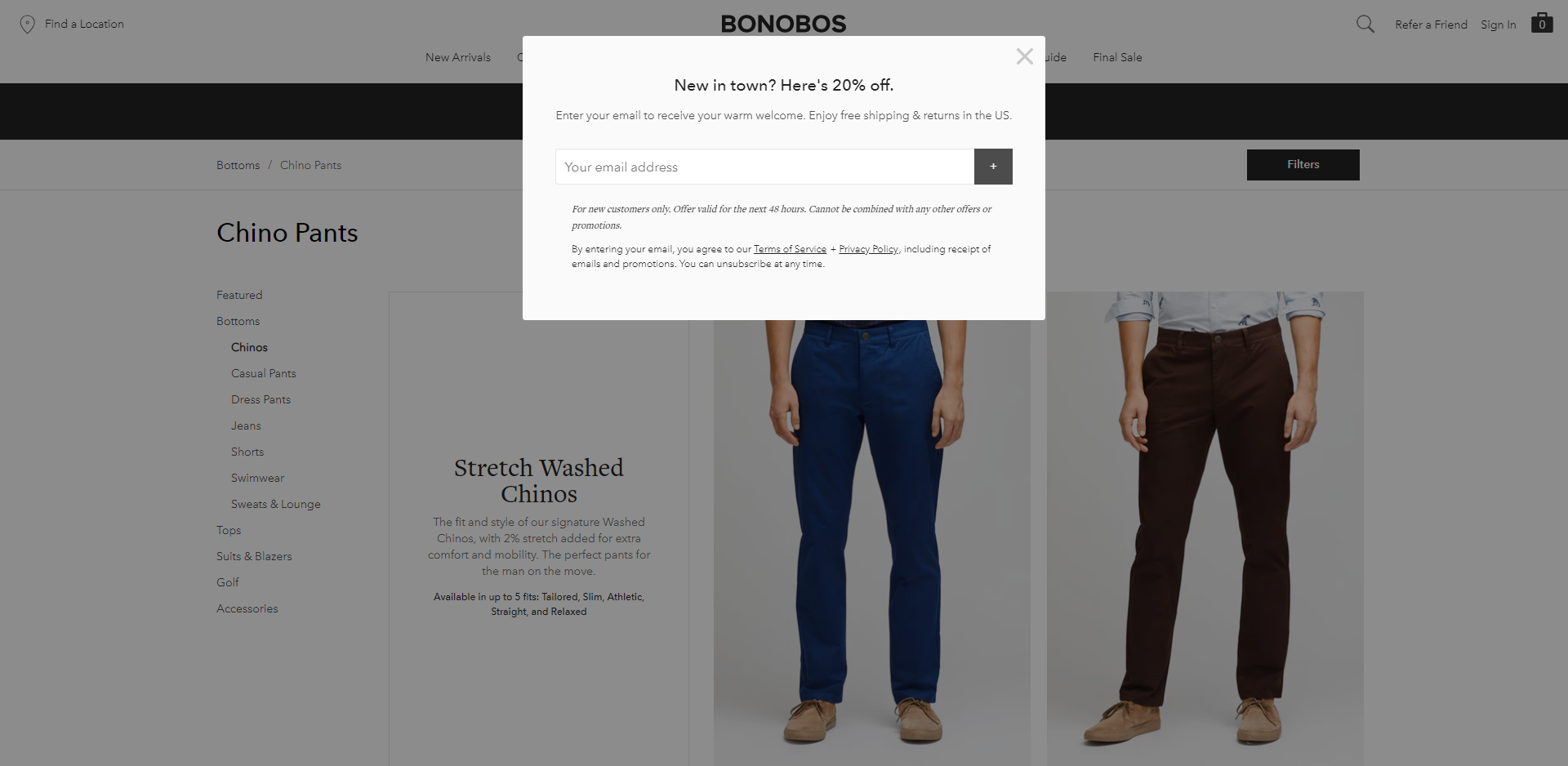 An email subscription popup targeting new visitors on Bonobos