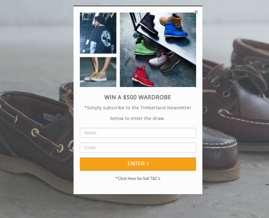 A sweepstakes popup on Timberland.com