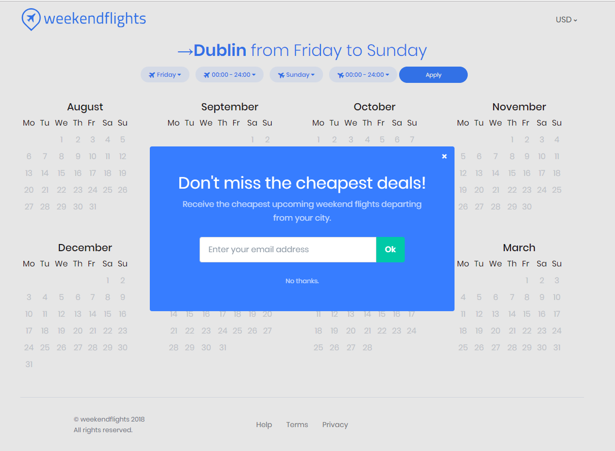 An email popup on WeekEndFlights