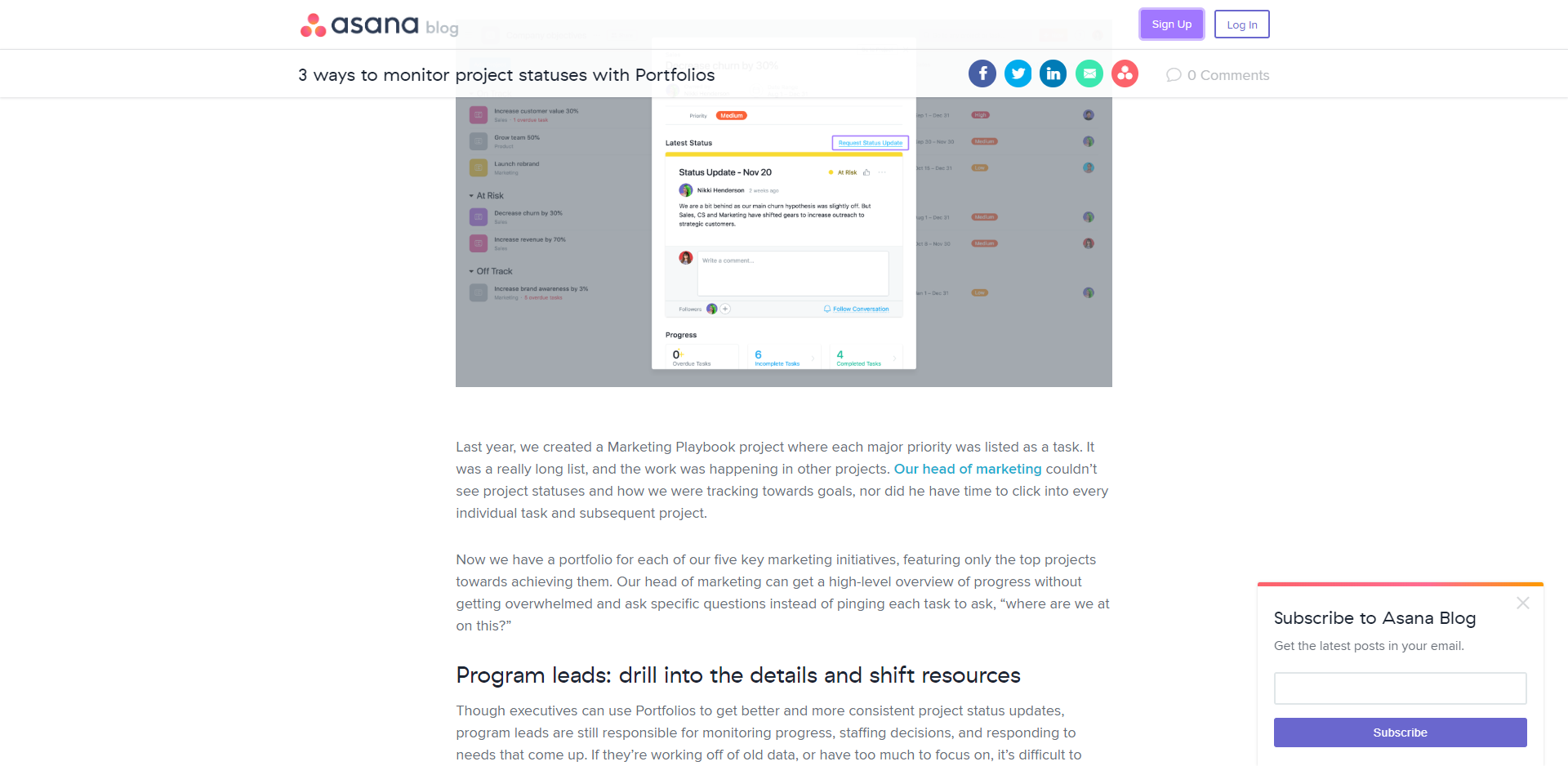 A slide-in popup on Asana's blog
