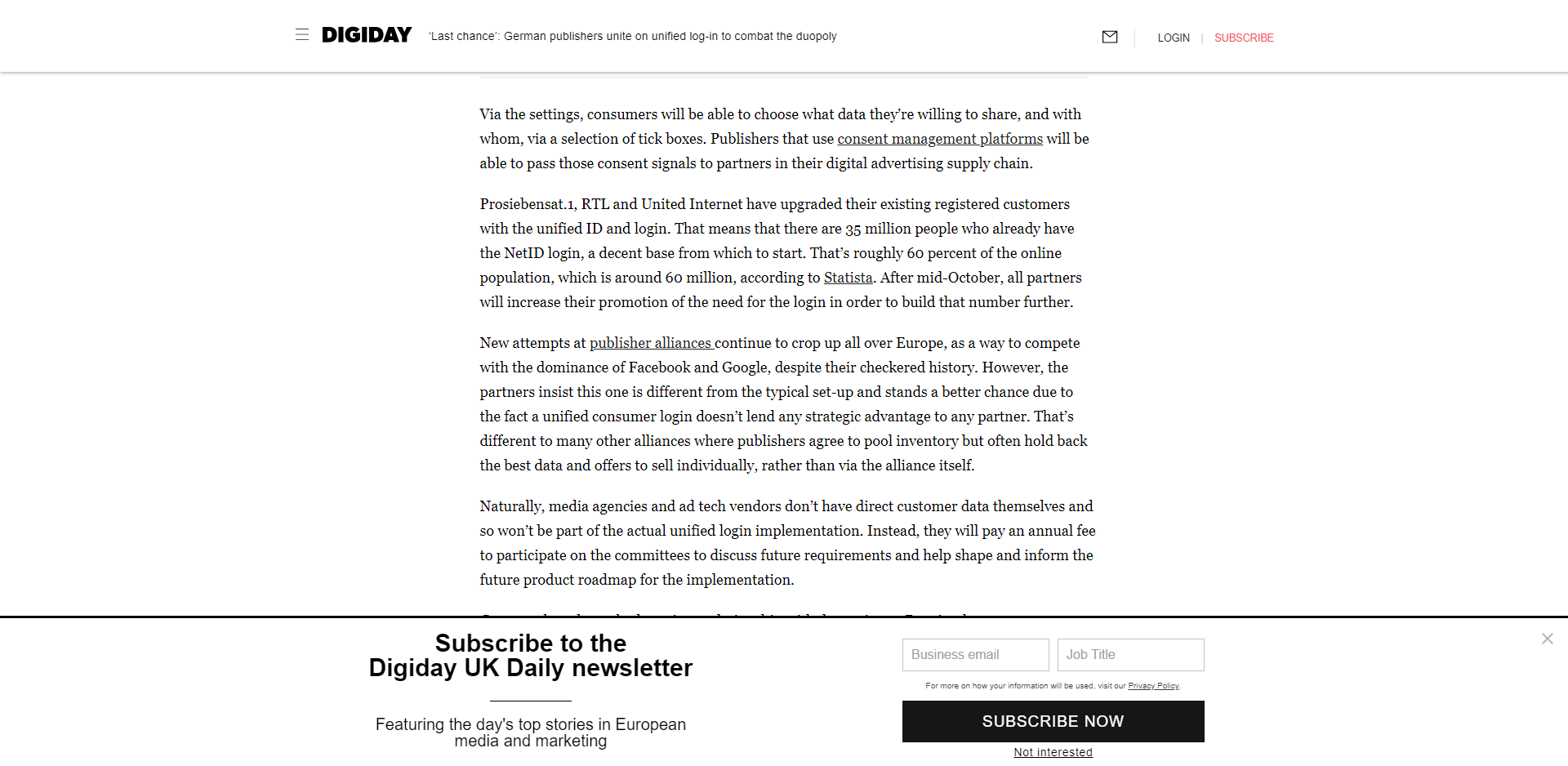 An email bar on Digiday.com