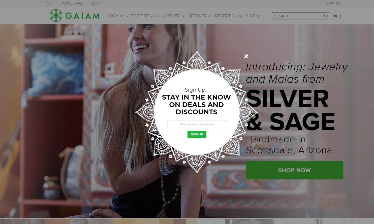 A time-based popup on Gaiam.com, a leading Shopify store