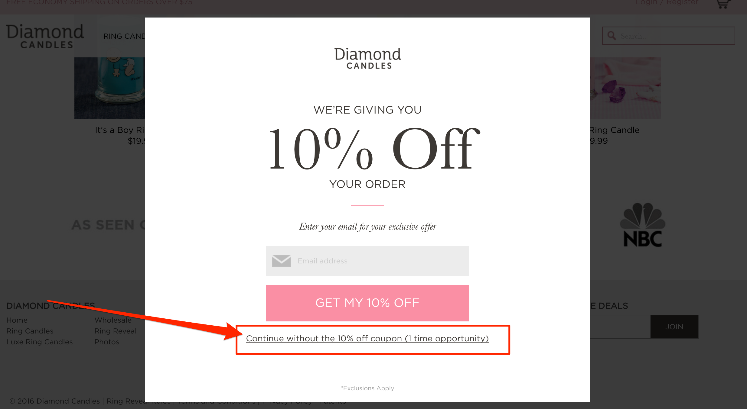 Diamond Candles' popup offering a 10% off coupon to new subscribers