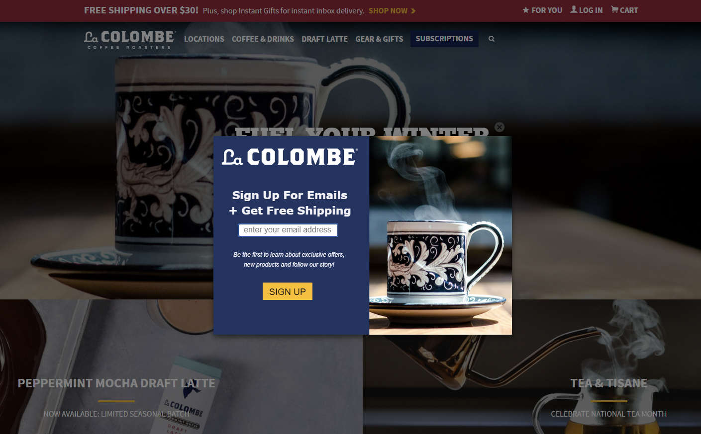 A popup on Lacolombe.com offering free shipping to new subscribers