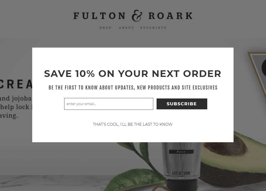 A popup on Fulton & Roark's website