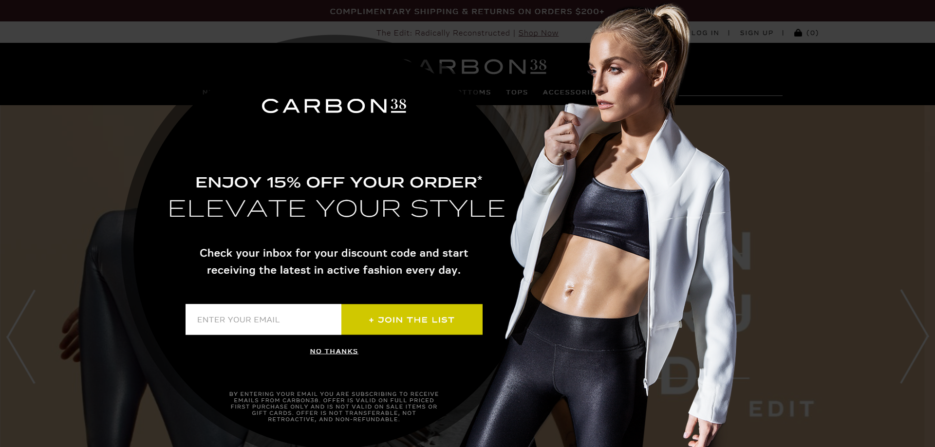 Carbon38's lightbox pop-up