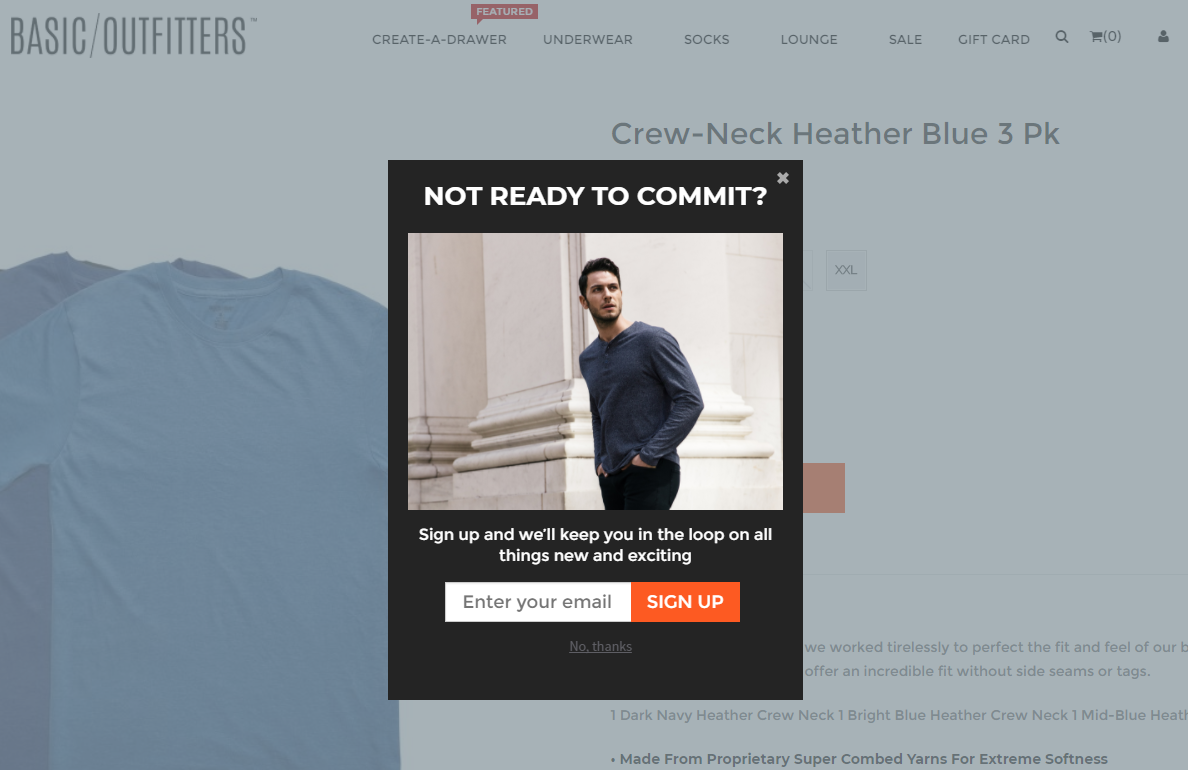 A popup on Basic Outfitters featuring a short copy.