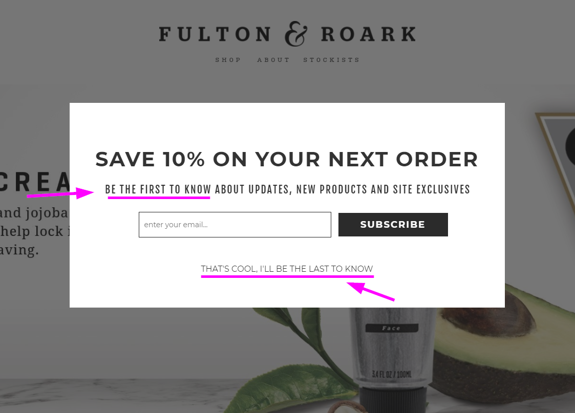 A pop-up on Fulton & Roark's website targeting first-time visitors