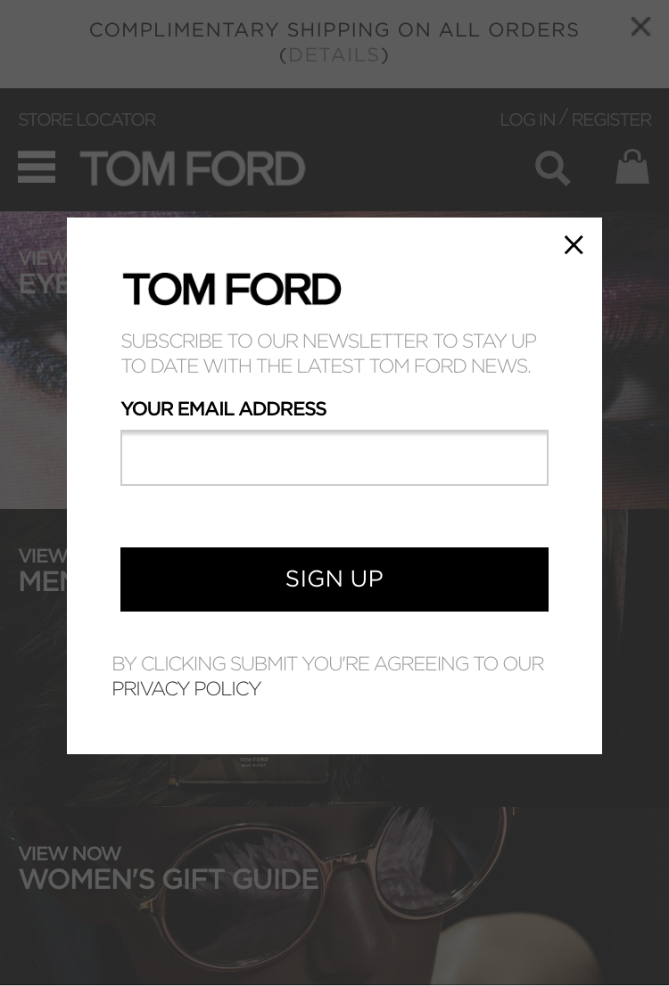 A mobile lightbox popup on Tom Ford's online store