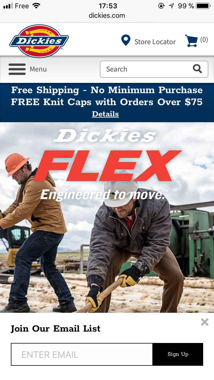 A mobile-friendly popup on Dickies.com