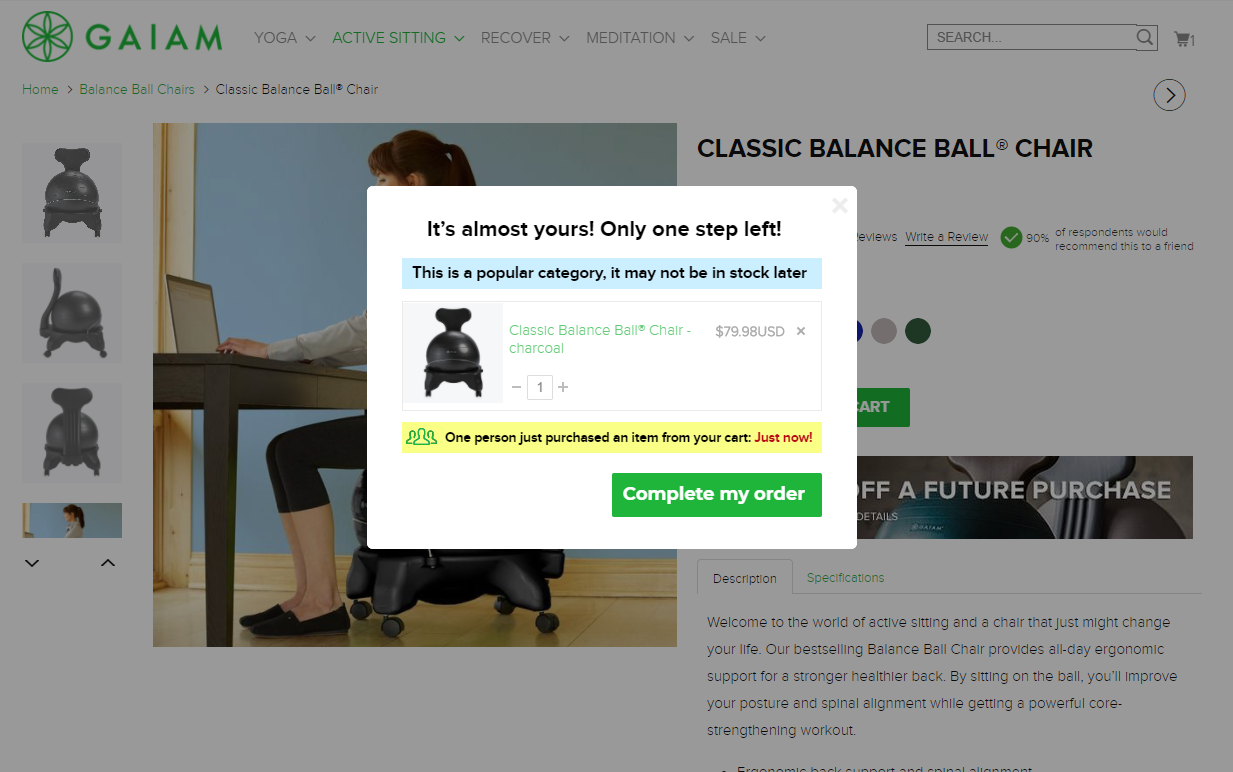 An exit-intent pop-up on gaiam.com