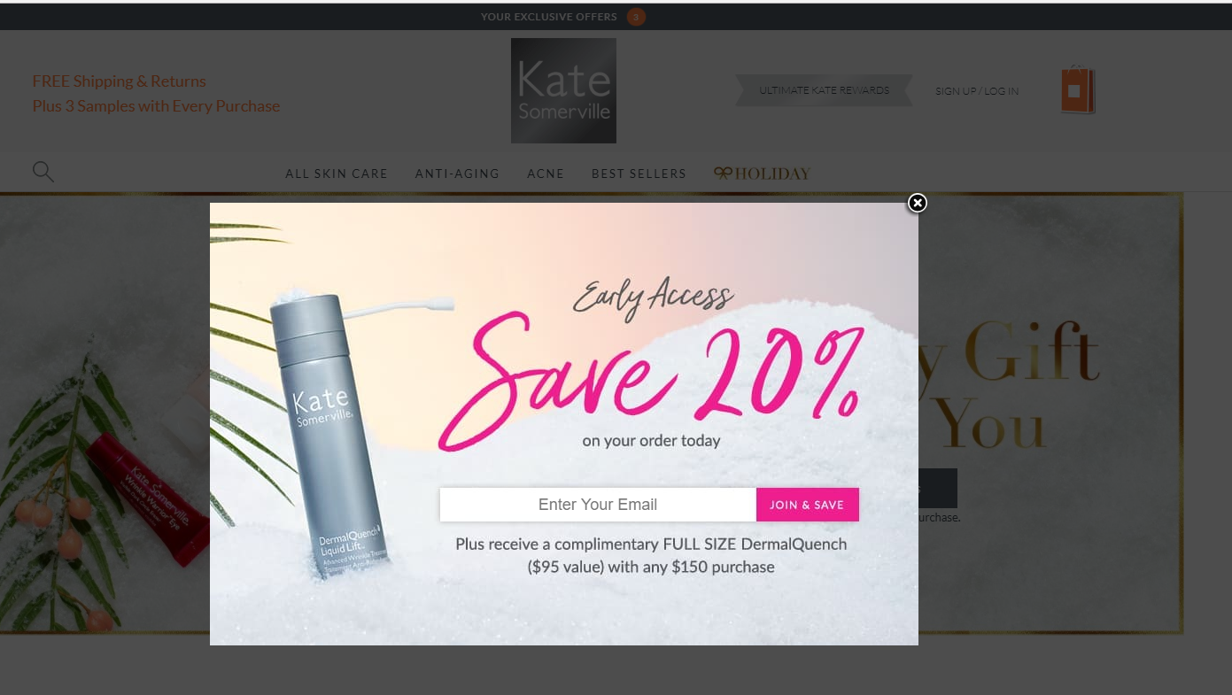 Kate Somerville's pop-up offering to get a complimentary gift
