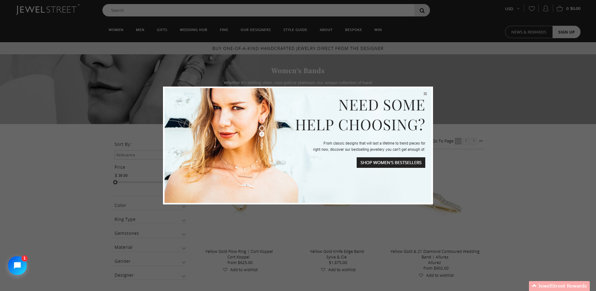 An exit popup displayed on the Women's category page - Jewelstreet