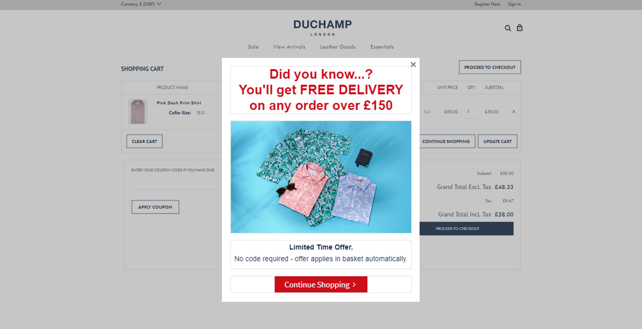 Duchamp's London Shopify popup