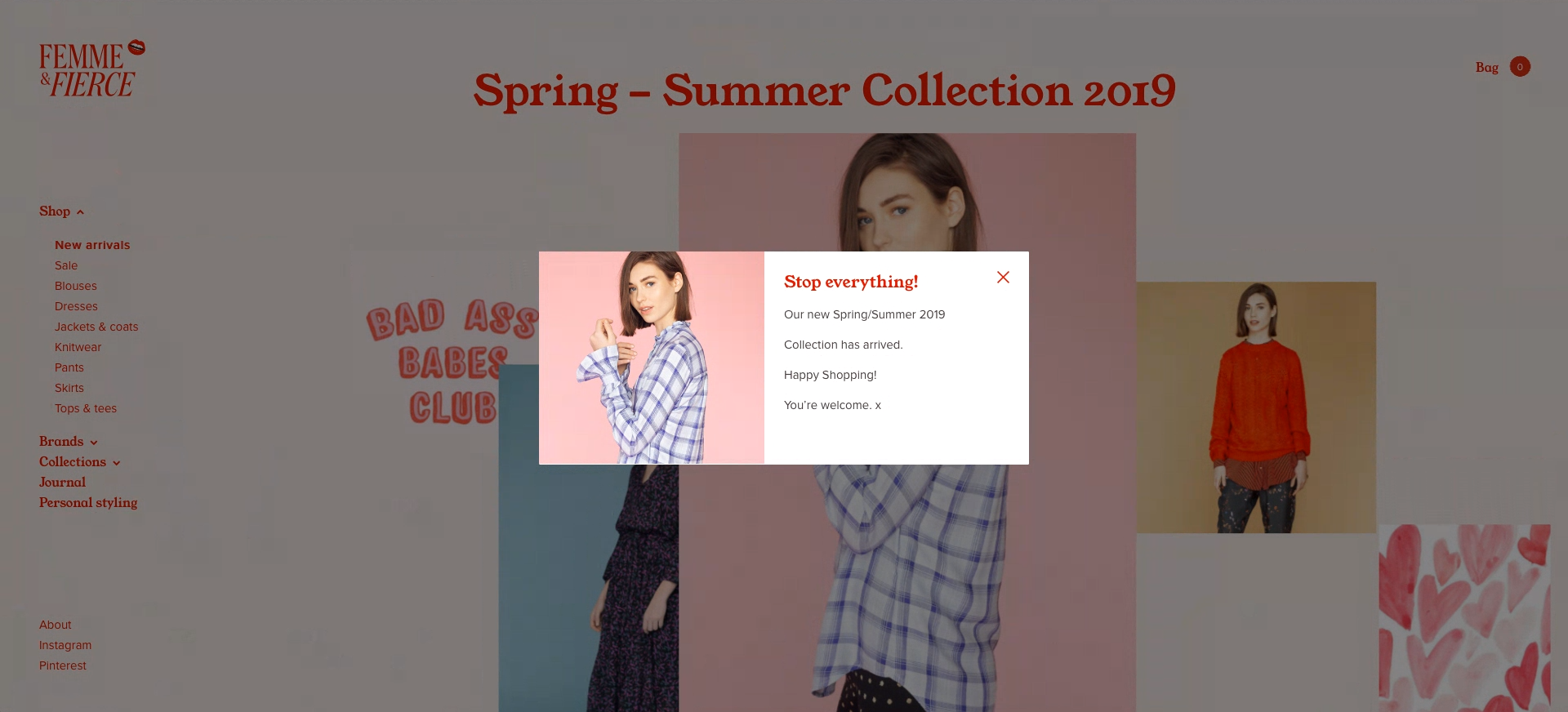 A simple announcement popup displayed on WooCommerce-powered website Femme&Fierce