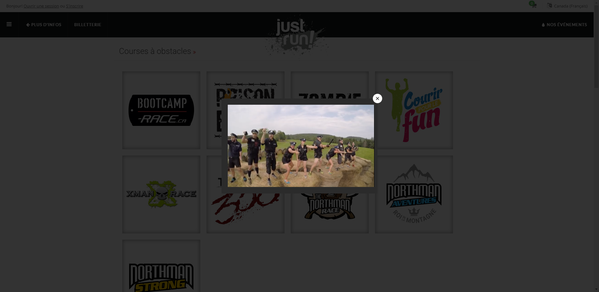 Justrun.ca's video pop-up featuring a large closing X