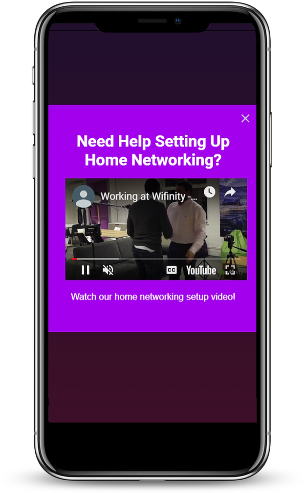 A mobile video pop-up found on wifinity.com
