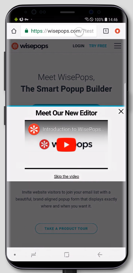 A video pop-up displayed on a mobile device