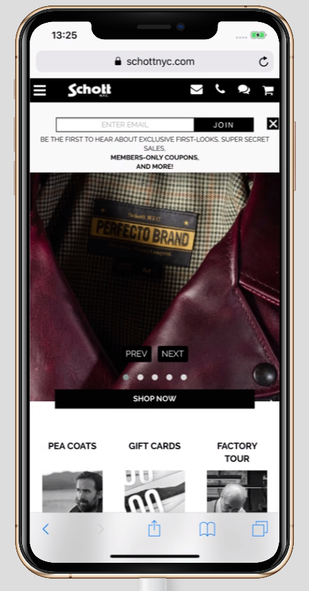 A mobile-friendly popup on Schott NYC's website