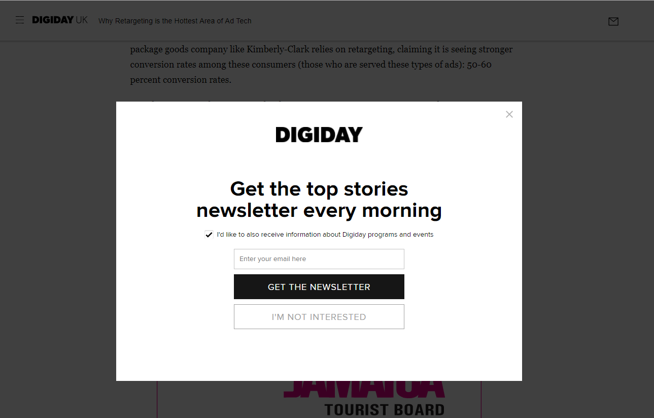 An email overlay on Digiday.com
